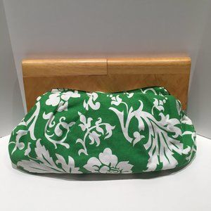 OLD NAVY TROPICAL GREEN CLUTCH W/ WOOD HANDLE